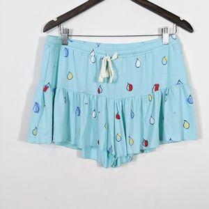 Free Press Kimi Flowy Shorts Teal Mini Fruits NWT
